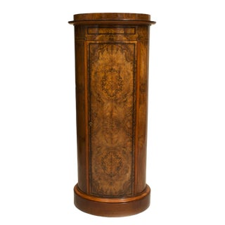 19th Century Biedermeier Burl Walnut Pedestal Cabinet For Sale