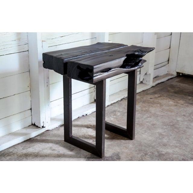 Brown Asian Modern Yakisugi Wood and Metal Side End Table For Sale - Image 8 of 13