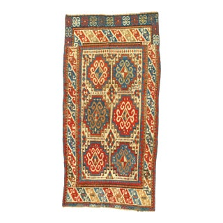 Late 19th Century Antique Russian Kazak Lambswool Rug - 3′3″ × 7′7″ For Sale