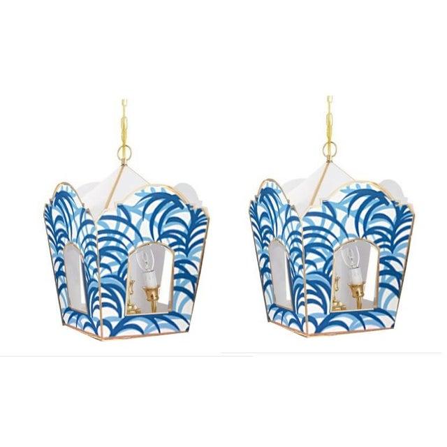 Dana Gibson Dana Gibson Blue Palm Lantern - a Pair For Sale - Image 4 of 4