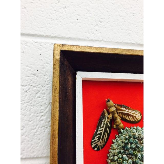 Vintage Folk Art Seashell Fruit Basket Painting in Frame For Sale - Image 10 of 11