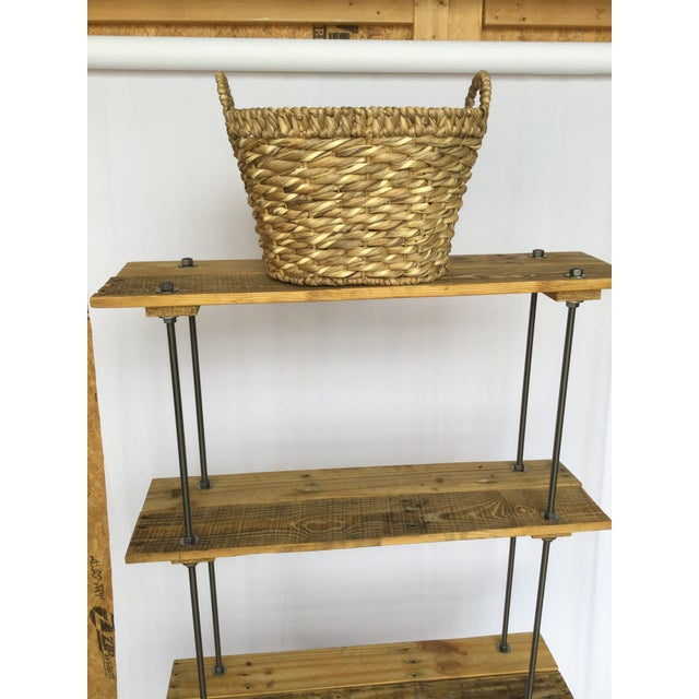 Industrial Tall Recycled Wood and Metal Rod Adjustable Bookcase Shelf For Sale - Image 11 of 12