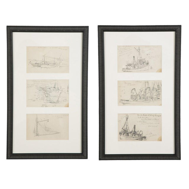 "Reynolds Beal ""Sail Boats and Fishing Boats"" Pencil Sketches - a Pair For Sale"