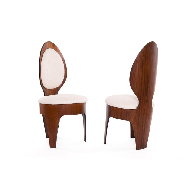 Mid-Century Modern Henry Glass 'Spoon' Walnut Frame Dining Chairs - Set of 6 For Sale - Image 3 of 9