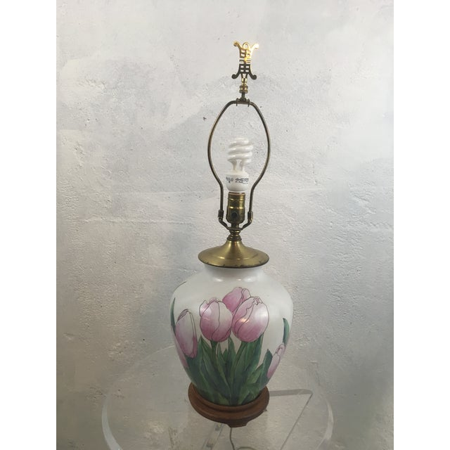 Impressionist Vintage Tulip Lamp With New Shade For Sale - Image 3 of 8