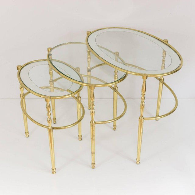 Interesting Oval Brass Nesting Tables, Circa 1940 - Image 4 of 8