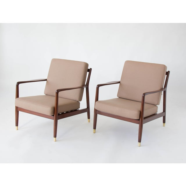 Folke Ohlsson for DUX Brass-Capped Leg Lounge Chairs - a Pair For Sale In Los Angeles - Image 6 of 9