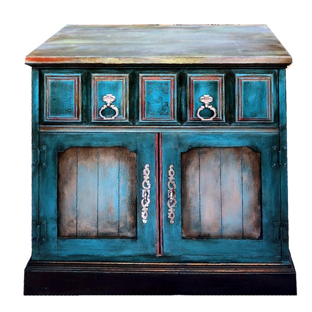 Blue Patrick Briggs 'Blue' 2021 Refinished Wooden Nightstand Storage Credenza For Sale - Image 8 of 9