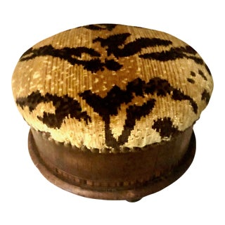 19th Century Italian Inlaid Wood Stool With Tiger Velvet For Sale