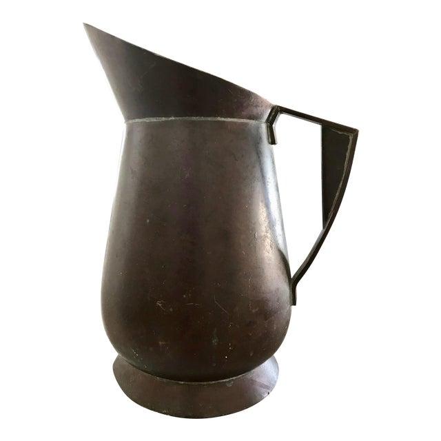 Vintage Bel Geddes Era Art Deco Copper Metal Water Pitcher For Sale