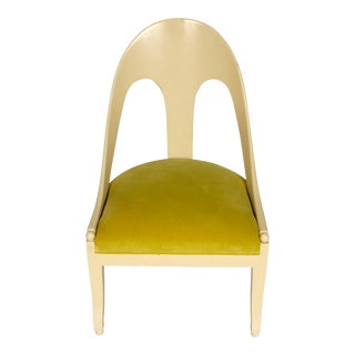 Michael Taylor Style Painted Chair with Chartreuse Velvet For Sale