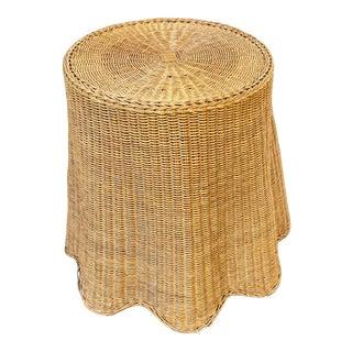 Vintage Boho Chic Draped Rattan Wicker Trompe L'Oeil Ghost Side Table For Sale