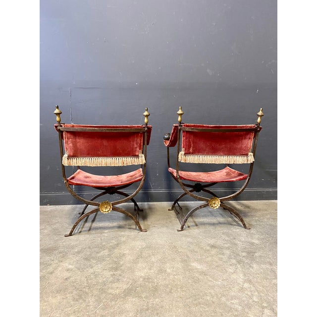 19th Century Italian Campaign Curule Chairs - a Pair For Sale - Image 4 of 11