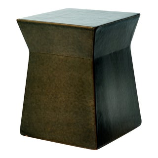 Ashlar Handmade Glazed Ceramic Outdoor Accent Stool, Taupe For Sale