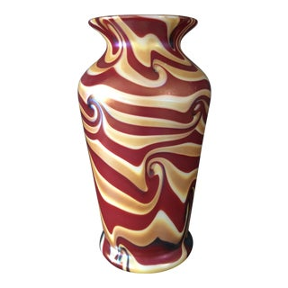 Lundberg Art Glass Vase, Signed For Sale