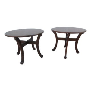 Round Side Tables with Scrolled Supports - A Pair For Sale