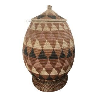 Zulu Handwoven Wedding Basket With Tutsi Handwoven Ring For Sale