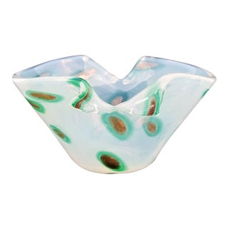 1950s Murano Opalescent Glass Vase or Bowl-Italian Mid Century Modern MCM Tropical Coastal Palm Beach Boho Chic Italy Shell For Sale
