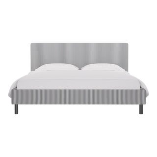 California King Tailored Platform Bed in Grey Fairfield Stripe For Sale