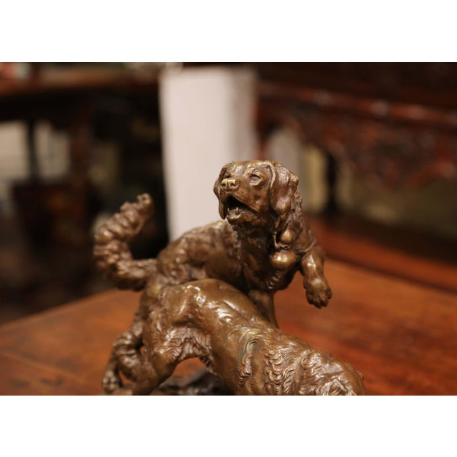 Late 19th Century 19th Century French Patinated Bronze Hunting Dogs Sculpture Signed Ch. Valton For Sale - Image 5 of 9