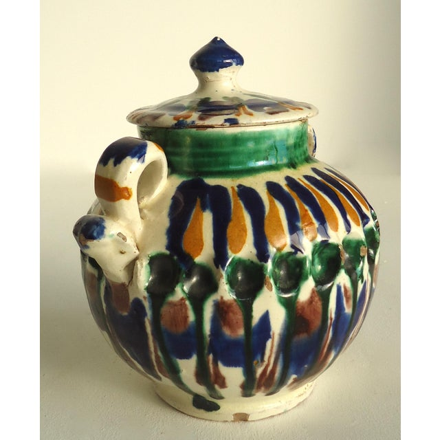 Rustic Folk Pottery Sugar Jar - Image 3 of 6