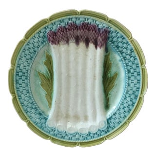 1890 French Majolica Asparagus Orchies Plate For Sale