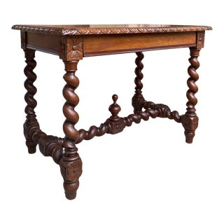 Antique French Oak Sofa Table Writing Desk Barley Twist Louis XIII Style For Sale