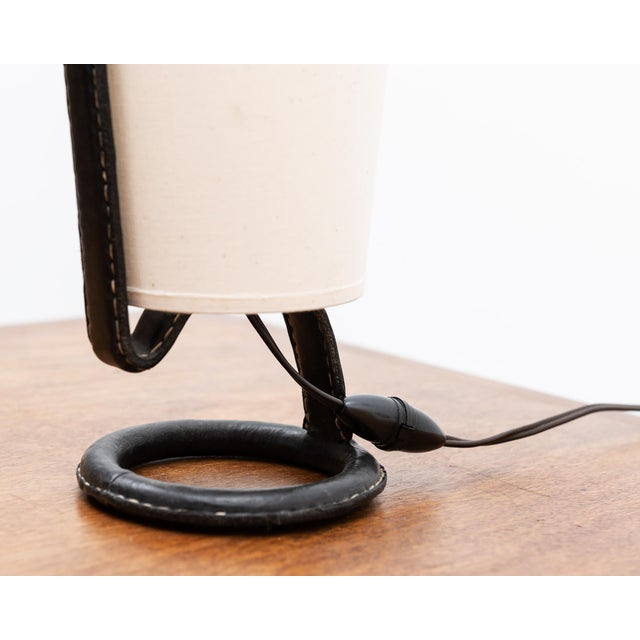 Jacques Adnet Jacques Adnet Table Lamp in Stitched Black Leather, France, 1950s For Sale - Image 4 of 7