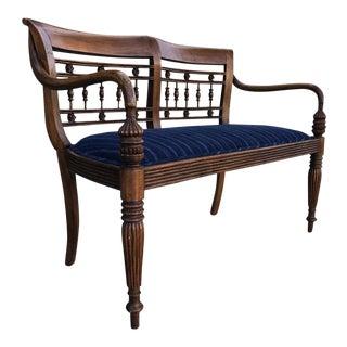 Vintage Carved Wood & Indigo Upholstered Bench