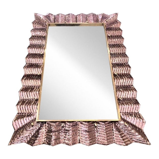 Venetian contemporary Couture design rectangular wall mirror, custom made in Italy, framed with a thick border in high...