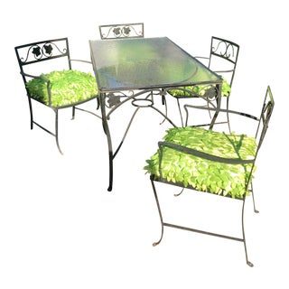 Art Deco Black Aluminum Outdoor Dining Table & Chairs - a Set For Sale