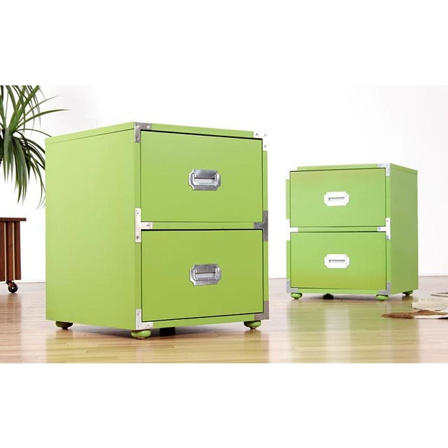 Vintage Campaign Nightstands in Lime - A Pair - Image 2 of 6