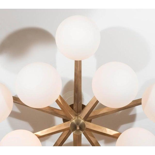 Modern Custom Antique Brass Ten-Globe Ceiling Light For Sale - Image 3 of 5