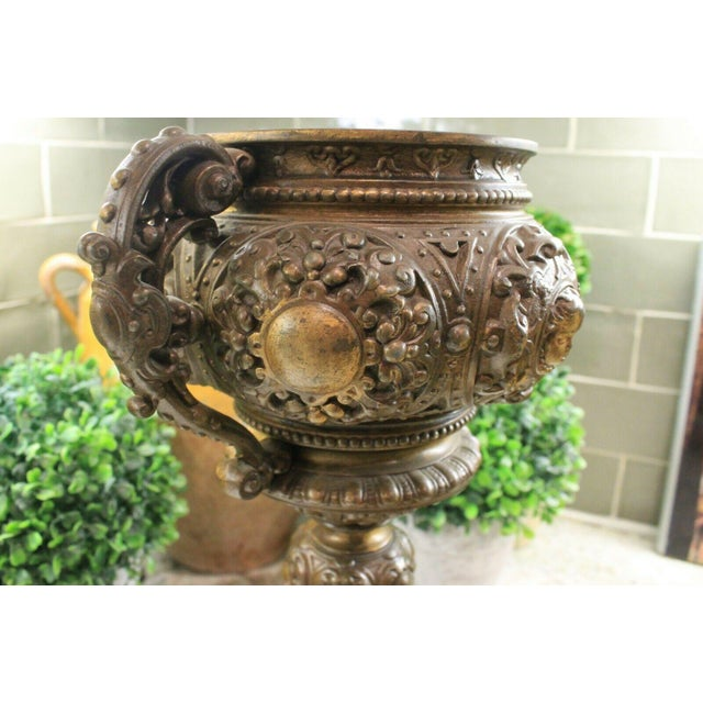 Antique French Spelter Planters Urns Jardinieres Vases Renaissance - a Pair For Sale - Image 11 of 13