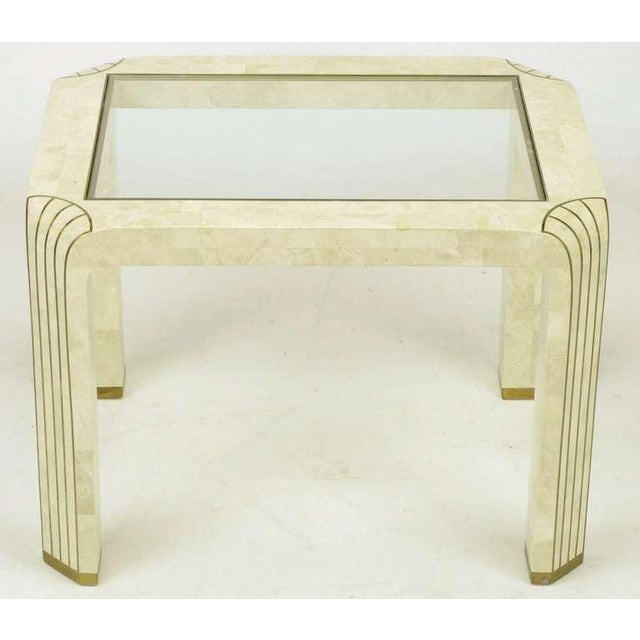 Pair Tessellated Fossil Stone & Inlaid Brass Side Tables - Image 6 of 8