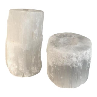 Selenite Votive Candle Holders - A Pair