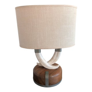 1960s Gucci Teak & Pewter Lamp With Boar's Tusks For Sale