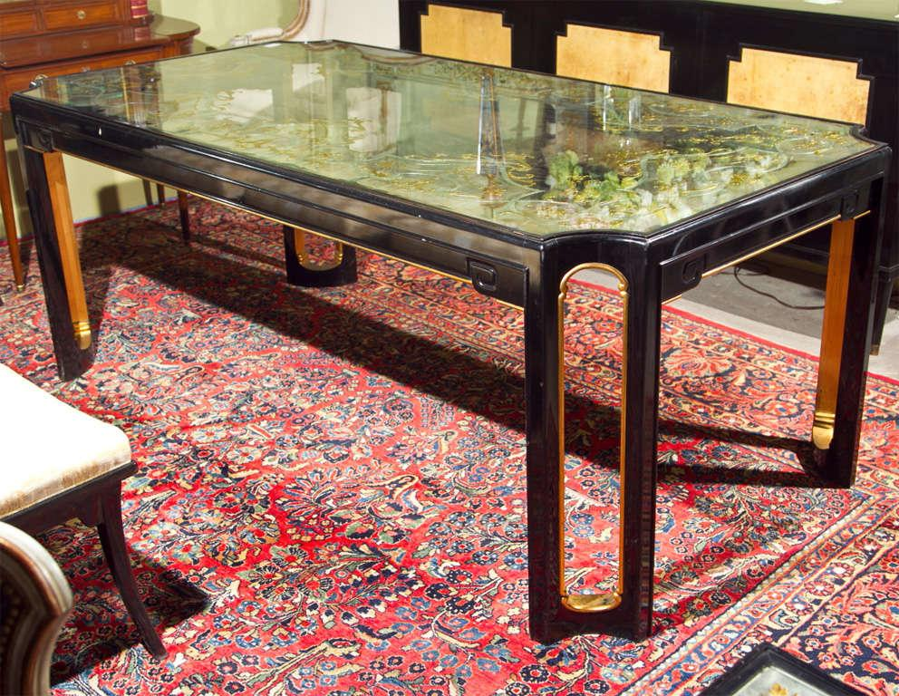 Maison Jansen Eglomise Glass Top Dining Table   Image 2 Of 10