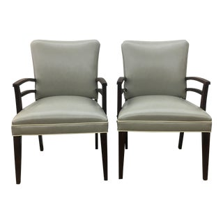 1940s Grey Vinyl Armchairs - A Pair For Sale