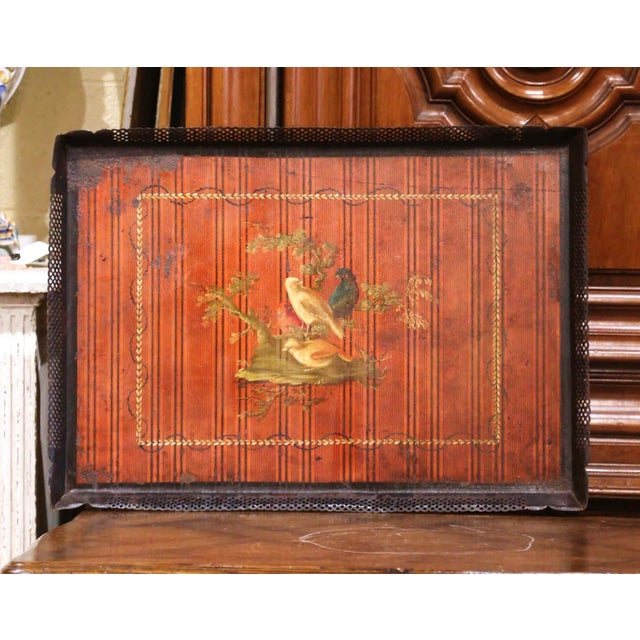 Metal Mid-19th Century French Napoleon III Hand Painted Tole Tray With Bird Motifs For Sale - Image 7 of 7