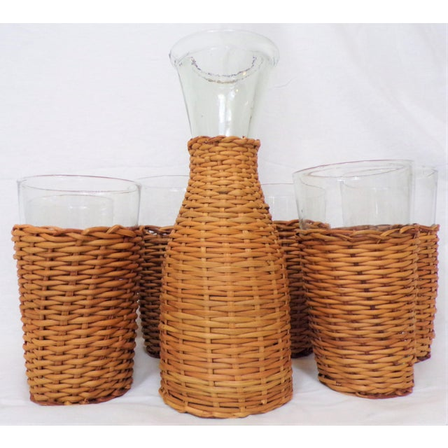 Wood Vintage Rattan Wine Carafe and Glasses - Set of 7 For Sale - Image 7 of 11