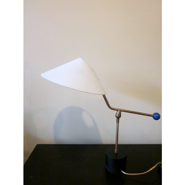Contemporary 1950s Angular French Modernist Counterweight White UFO Shade Desk Lamp For Sale - Image 3 of 13