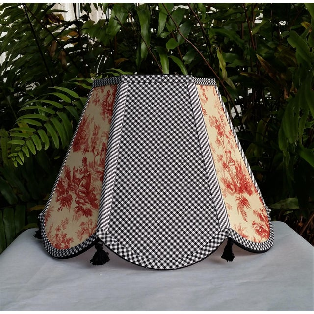 Metal Red Toile Lampshade Black White Gingham For Sale - Image 7 of 11