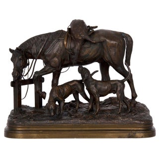 """19th Century Bronze Sculpture of """"After the Hunt"""" by Alfred Dubucand For Sale"""