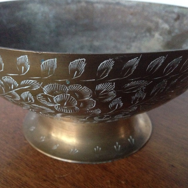Vintage Etched Brass Bowl For Sale - Image 5 of 11