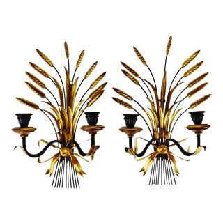 Vintage Italian Tole Wheat Sheaf Candle Wall Sconces - a Pair For Sale