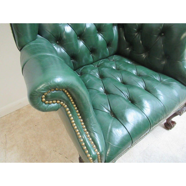 Vintage Chesterfield Style Tufted Ball & Claw Chippendale Wingback Chair - Image 7 of 11