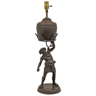 Late 19th Century Grand Tour Bronze Figure of Silenius Oil Lamp For Sale
