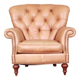 Century Furniture Tufted Leather Chesterfield Lounge Chair For Sale