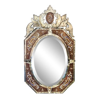 Exceptional Antique 19th Century Enameled Venetian Mirror. For Sale
